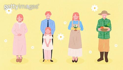 사람들, 여러명[3-5] (사람들), 공동체, 함께함 (컨셉), 이웃, 직업, 농부 (농촌직업), 임신 (물체묘사), 플로리스트