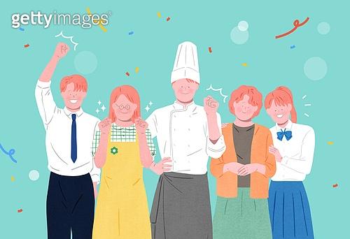사람들, 여러명[3-5] (사람들), 공동체, 함께함 (컨셉), 이웃, 직업, 꽃가루, 요리사, 비즈니스맨, 교사 (교육직), 학생