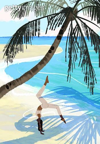 요가, 운동, 여성 (성별), 한명, 취미, 라이프스타일, 풍경 (컨셉), 해변, 야자나무 (열대나무), 바다