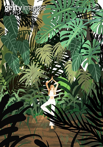요가, 운동, 여성 (성별), 한명, 취미, 라이프스타일, 풍경 (컨셉), 치즈나무 (열대관목), 식물원