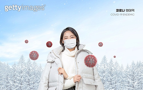 코로나바이러스 (바이러스), 코로나19 (코로나바이러스), 엔데믹, 위드코로나, 라이프스타일 (주제), 한국인, 여성 (성별), 겨울, 마스크 (방호용품), 눈 (얼어있는물)