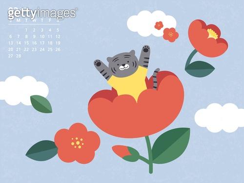 달력 (시간도구), 호랑이 (고양잇과큰동물), 호랑이띠해 (십이지신), 2022년, 2월, 동백 (온대성꽃), 흑호 (호랑이)