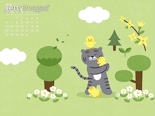 달력 (시간도구), 호랑이 (고양잇과큰동물), 호랑이띠해 (십이지신), 2022년, 3월, 봄, 흑호 (호랑이)