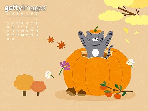 달력 (시간도구), 호랑이 (고양잇과큰동물), 호랑이띠해 (십이지신), 2022년, 흑호 (호랑이), 10월 (월), 가을, 박과 (채소)