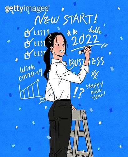 비즈니스, 화이트칼라 (전문직), 밝은표정, 시작 (컨셉), 꽃가루, 펜 (필기구), 글씨쓰기 (움직이는활동)