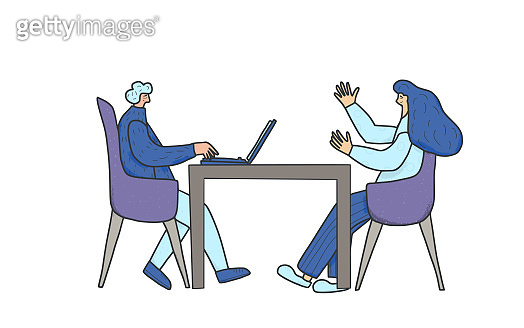People sitting in the chair. Vector person.