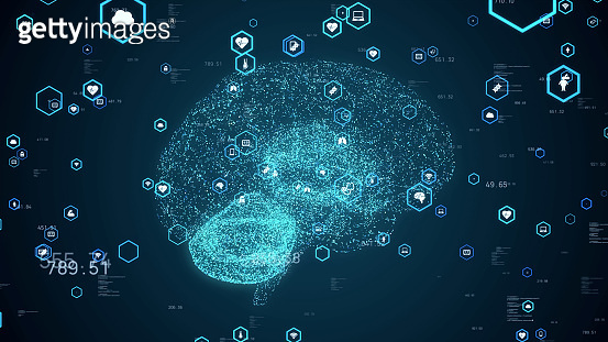 Brain science concept. Neuroscience. AI (Artificial Intelligence).