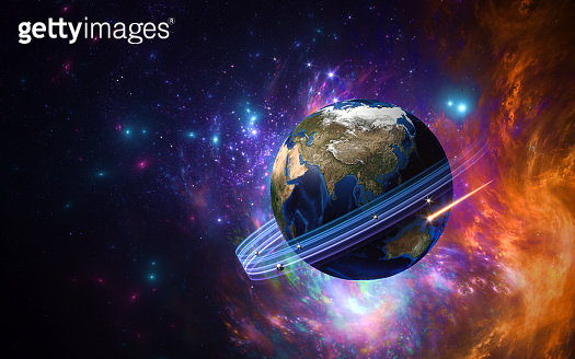 our planet - earth - stylization -  in the starry sky- 3D rendering