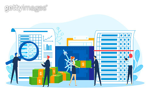 Finance document, money protection in safe, vector illustration. People character use safety service for flat business care.