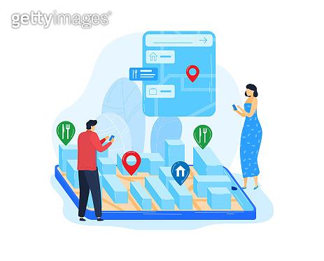 Restaurant technology for smartphone, cafe location at internet mobile phone application, vector illustration. Navigation at map