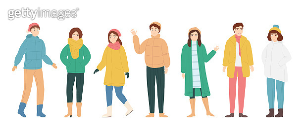 Cartoon Color Characters People Man and Woman in Winter Clothes Concept. Vector