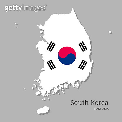 Map of South Korea with national flag