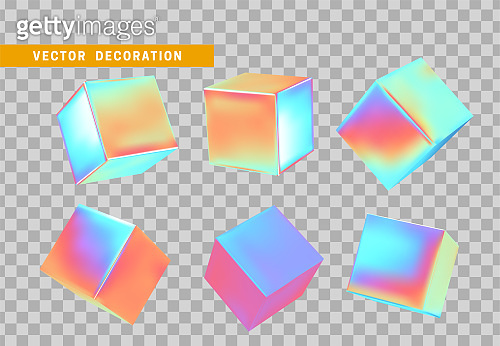 Cube 3d render, objects with gradient holographic color of hologram. Geometric decorative design elements. Set square block. Realistic isolated on a white background. vector illustration