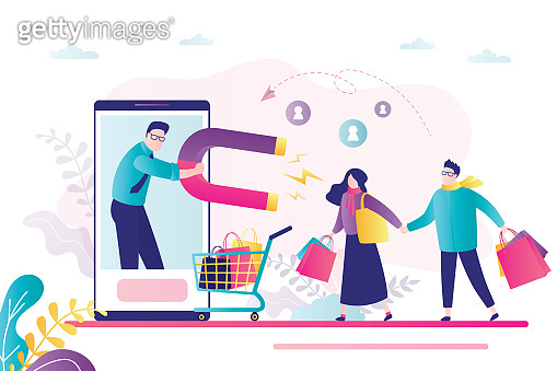 Technology of customers retention. Social media marketing. Businessman use magnet and attracts consumers. Funny smm specialist.