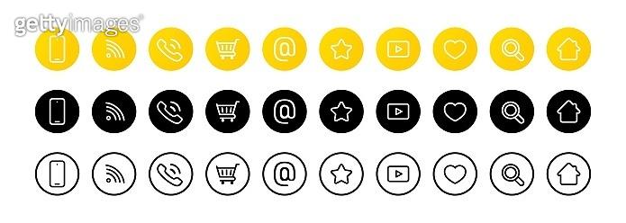 Communication line icon. Web symbol. Social network icon set. Vector on isolated white background. EPS 10