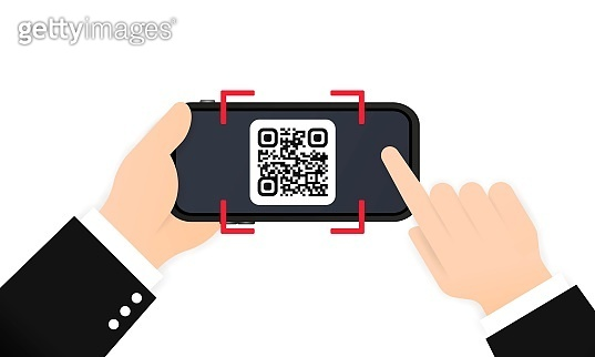Scan QR code to pay with Mobile phone. Smartphone scanning QR-code. Barcode Verification. Scanning tag, generate digital pay without money. Scanning barcode with telephone. Vector