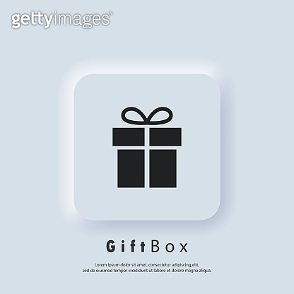 Gift box icon. Party and celebration concept. Surprise and birthday items, gift, present, ribbon, small and big boxes. Vector. Neumorphic UI UX white user interface web button. Neumorphism