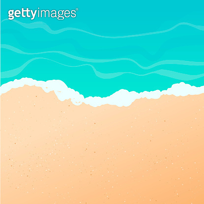 Vector summer background. Sunny beach, seashore or ocean with golden sand and azure water, top view. Waves and white foam at the water edge. Pattern template on the theme of summer holiday.