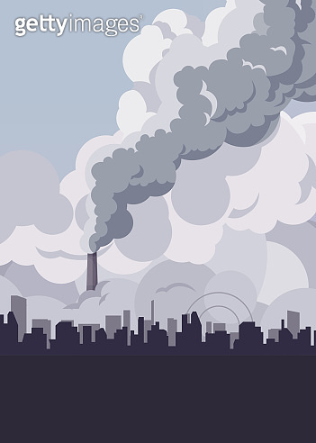 Toxic smoke from industrial factories floating in the air.