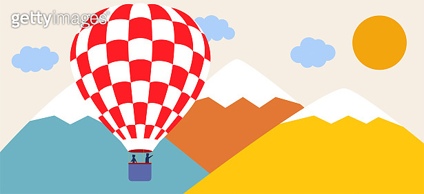 Landscape with snowy mountains, hot air balloons, clouds and birds. Paper cut out art digital craft style. Vector illustration