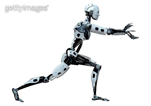 3D illustration male robot on white