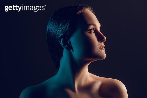 neon light portrait female beauty silhouette woman