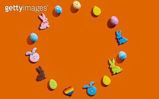 easter banner round frame bunny egg pattern orange