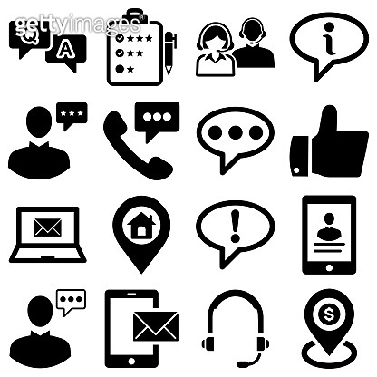 Customer Support vector icon set. Pixel perfect. The set contains icons: Contact Us, Life Belt, Support, 24 Hrs Telephone, Text Messaging, Ticket. stock illustration