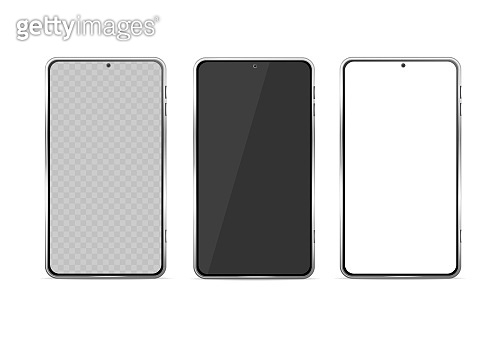 Realistic Detailed 3d Phone Glass Template Set. Vector