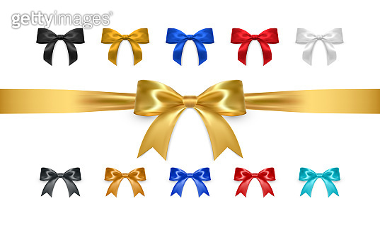 Set of realistic vector bows isolated on white background. Golden, white, black, red, blue gift bows for cards, presentation, valentine's day, christmas and birthday illustrations. Top view