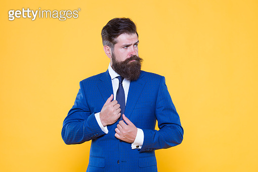 Successful businessman top manager. Businessman concept. Confident businessman handsome bearded man in formal suit. Serious motivated entrepreneur. Business strategy. Brutal simplicity of thought