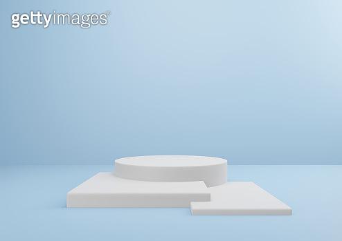 White Pedestal on Blue Background Minimal Design
