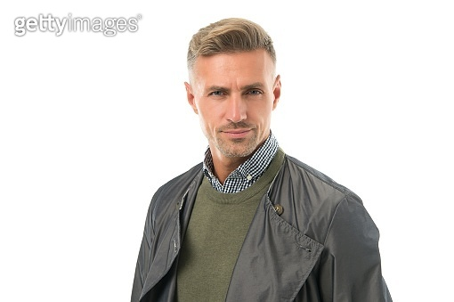 his perfect hairstyle. handsome man with unshaven face in coat. well groomed mature guy isolated on white. businessman wear casual business clothes. male fashion and beauty. autumn or spring apparel