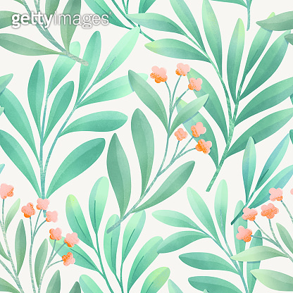 Seamless colorful floral pattern. Botanical illustration with leaves and flowers. Hand-drawn digital painting background for fabric, wallpaper, invitation, etc.