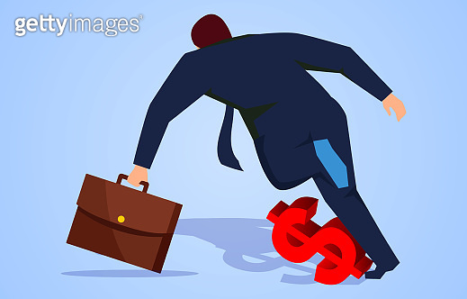 Businessman tripped over the dollar sign under his feet