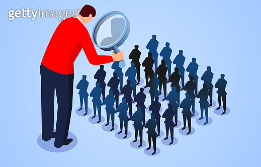 Business concept illustration, foreman looking at a group of small businessmen through a magnifying glass