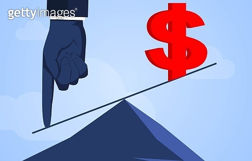 Hand press lever to make dollar rise, business concept illustration