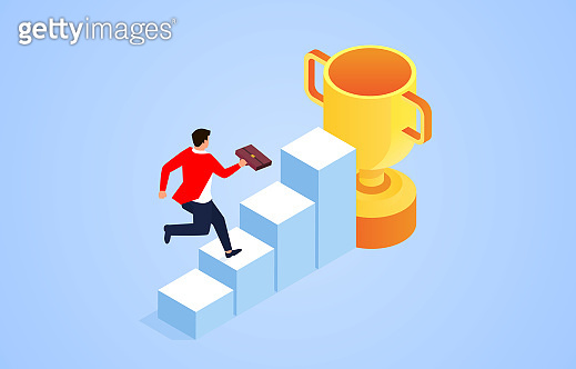 Businessman running along the steps to the trophy, the process of success