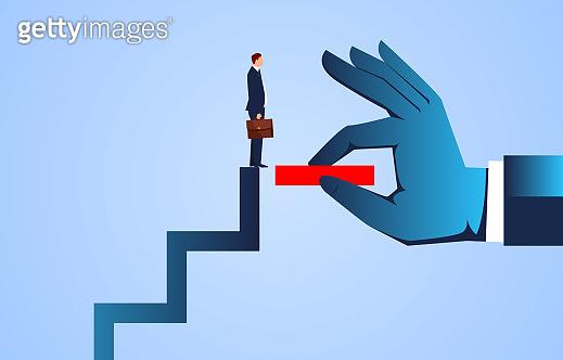 Supporting hand, big hand helping businessman achieve upward steps