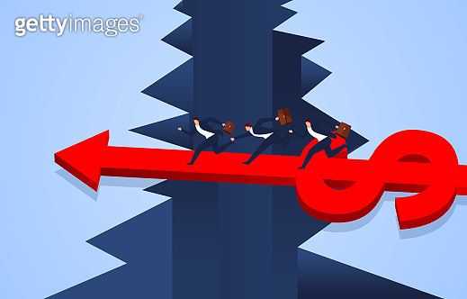 Growing dollar sign arrow forms a bridge to help businessman cross the cliff.