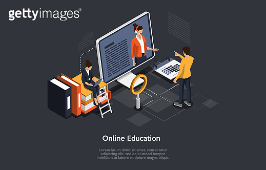 Isometric Illustration. Vector Cartoon 3D Style Design With Elements And People. Online Course Or Education. Remote Internet Study. Characters Near Computer With Information, Books, Calendar Around