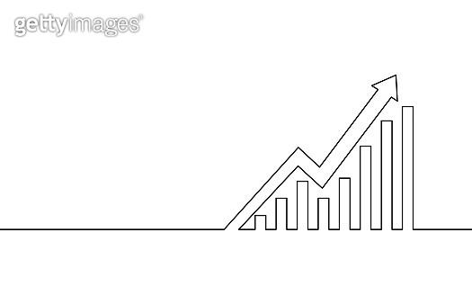 Single continuous line art arrows up. Growing profit graph economy finance concept design. One sketch outline drawing vector illustration