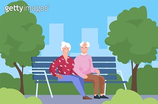 Seniors couple in park. Elderly people sitting on bench. Old man and woman walking in city recreational area. Gray-haired characters spend time together outdoor. Vector leisure pastime
