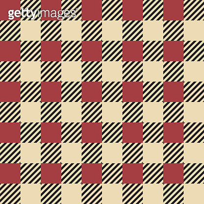 Plaid seamless pattern. Classic Scottish cage texture. Checkered red and yellow or striped squares. Decorative textile template, geometric background. Vector repeated print for fabric