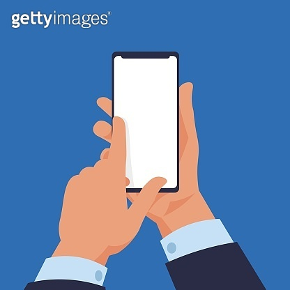 Hand holding smartphone. Cartoon modern mobile in human arms. Gadget touchscreen with copy space. Electronic device screen mockup. Phone application advertising. Vector illustration