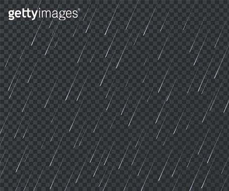 Rain. Realistic rainy texture. Falling water drops on transparent background. Storm with downpour mockup. Water streams and raindrops. Bad weather. Vector atmospheric precipitation