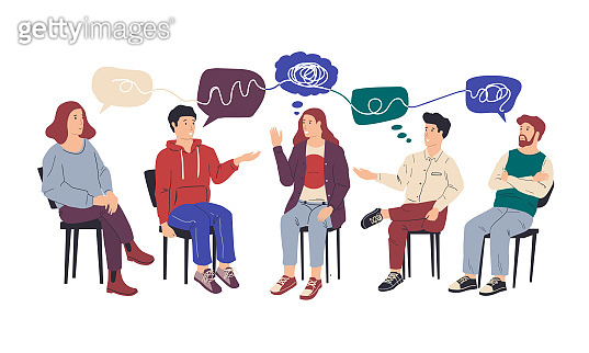 Group therapy. People at collective psychotherapy. Counseling and mental health support from addiction, psychologist help session. Men and women with speech bubbles, vector illustration