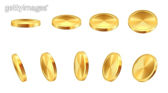 Golden coin. Realistic gold cash. 3D blank monetary signs. Money animation. Savings in precious metal. View from different angles to falling shiny metallic chip. Vector financial icons