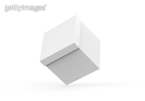 White blank square paper box mockup template on isolated white background, packaging box mockup for design presentation, 3d illustration