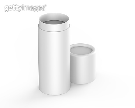 White paper tube push up tin can mockup template on isolated white background, ready for design presentation, 3d illustration